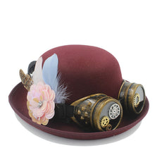 Steampunk Bowler Hat with Flower, Gear & Goggles