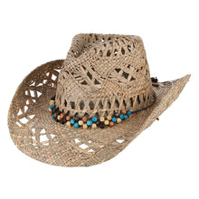 Breathable Curling Brim Cowboy Hat With Beads