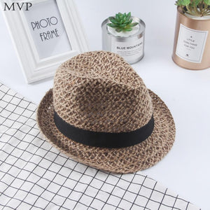 Exquisitely Woven Straw Fedora with Black Band