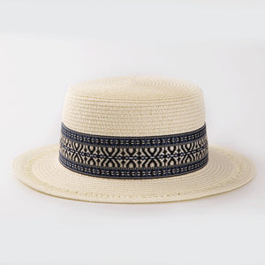 Flat Top Summer Straw Hat with Decorative Band