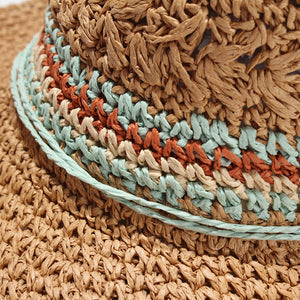 Woven Natural Straw Summer Hat with Turquoise Band