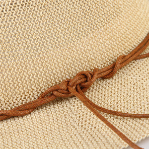 Straw Sun Hat with Leather Ribbon Hatband
