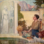 Man and dog in James Edwin McBurney WPA Mural Painting of Allegorical Scene | 1930s