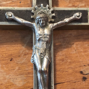 Antique Nickel Crucifix with Skull and Crossbones - Vintage Inlay Cross - Priest Nun - Inri - Gothic Wall Hanging