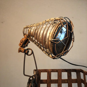 Vintage Shop Clamp Light from Old Phillips 66 Station - 1940s - Unusual Trouble Light Cage - Rare Industrial Decor - Articulating Adjuster