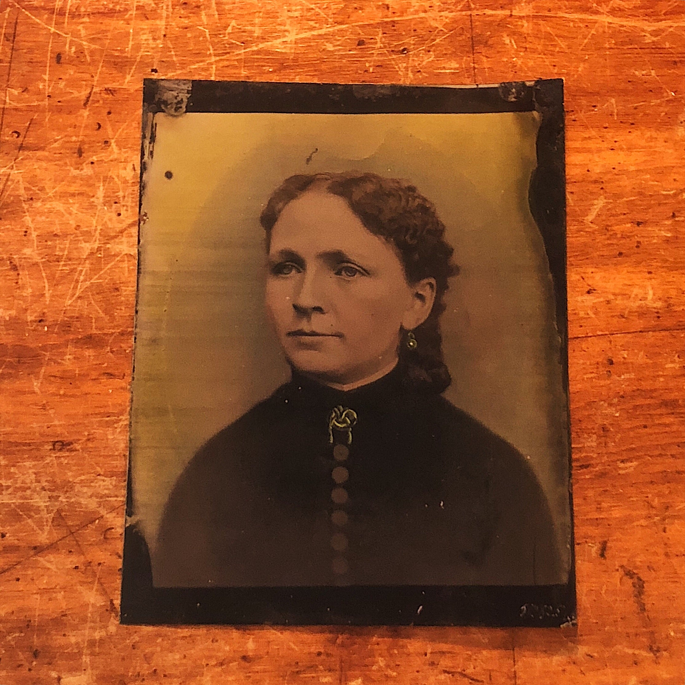 "Antique Tintype of Woman with Creepy Hand Painted Accents - Rare Large Size - 10"" x 8""- 19th Century Photography"