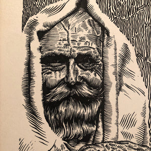 Vintage Illustration Art of Man in Cloak with Creepy Fingers - 1958 - Mystery Artist - Illegible Signature