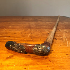 Antique Walking Cane with Rare Nautical Theme  - Folk Art Lobster Crabs - 19th Century Walking Stick - Wood - Maine Collectible