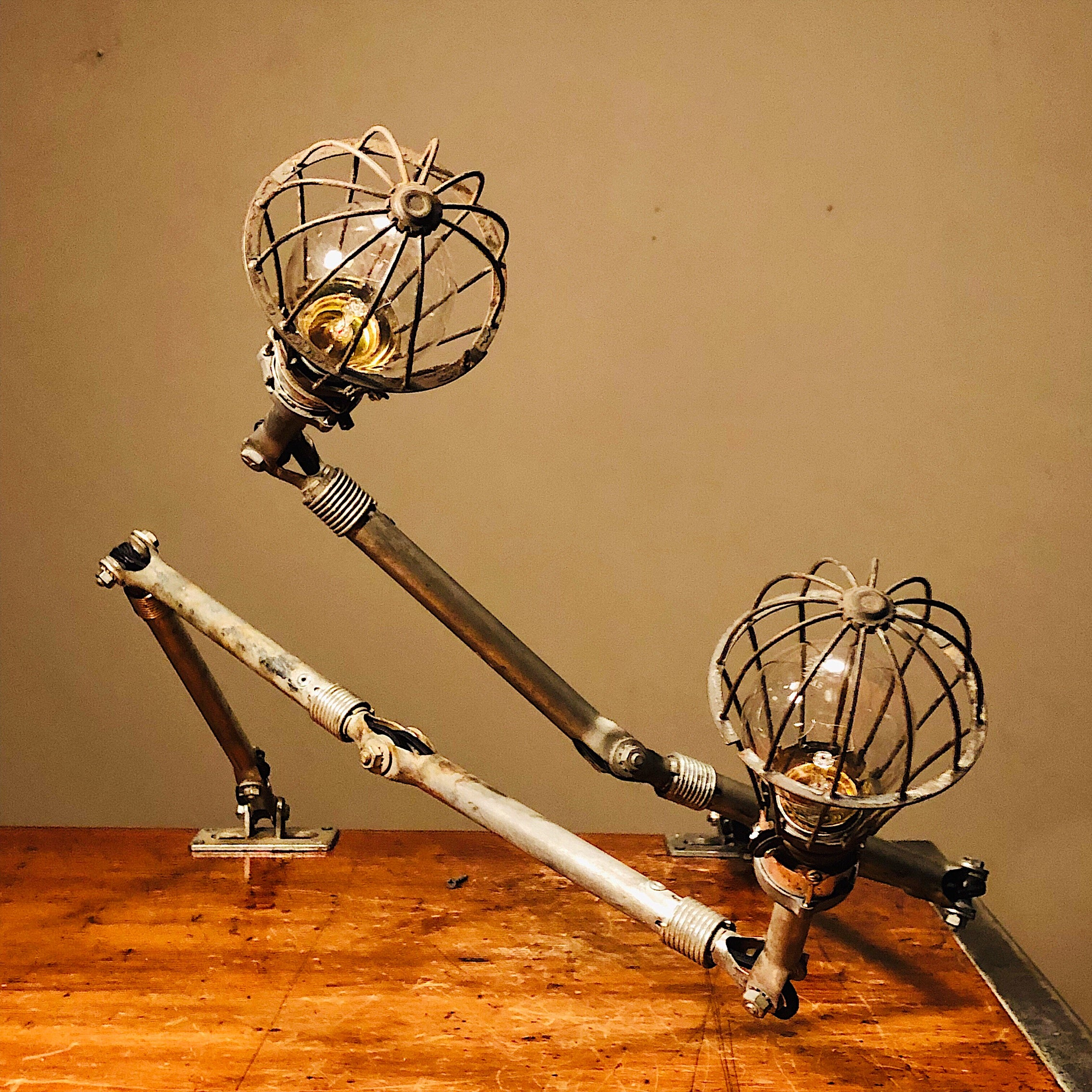 Vintage Ajusco Loc Industrial Task Lights - Set of Articulating Lamps with Cage Protectors - 1950s - Industrial Decor  5 Knuckles
