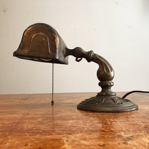 Rare Aladdin Lamp with Ornate Cast Iron Base - Antique Industrial Decor -  1920s Table Lamp