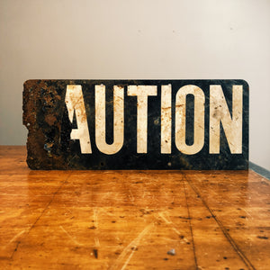 Vintage Caution Railroad Sign - Main
