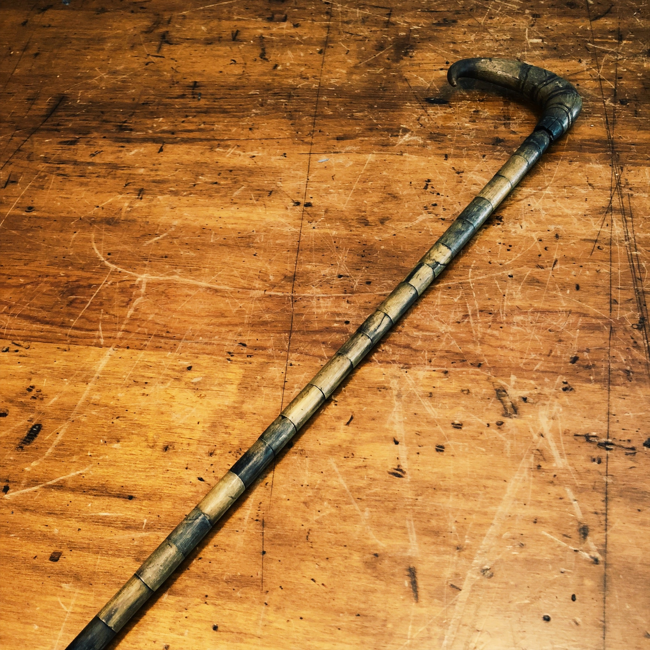 Vintage Stacked Horn Walking Stick