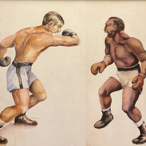 WPA Era Painting of Boxing Match - 1930s? - Mystery Artist - Watercolor on Paper - Antique Sports Artwork - Depression Era Art - Rare