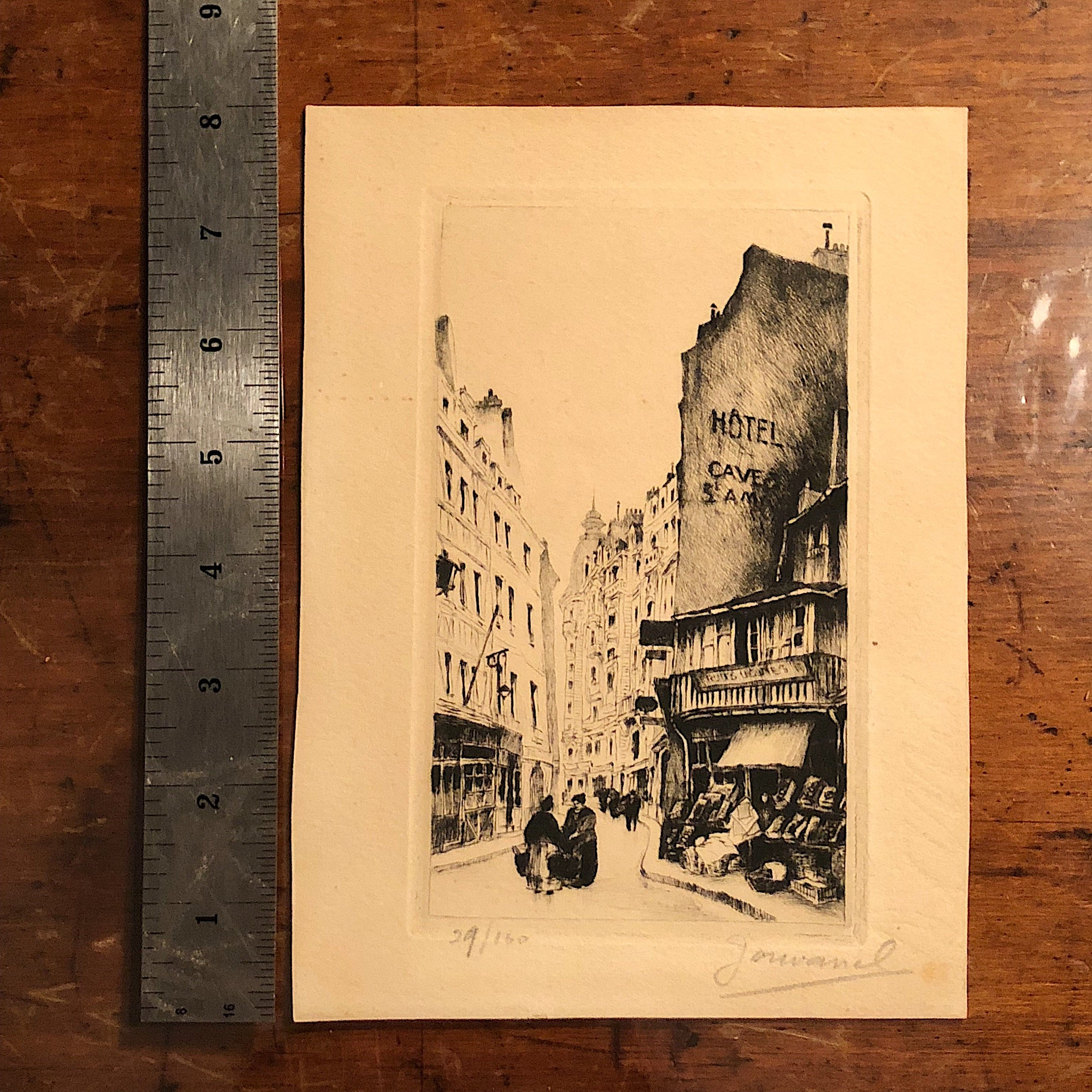 European Etching of Street Scene - Pencil Signed