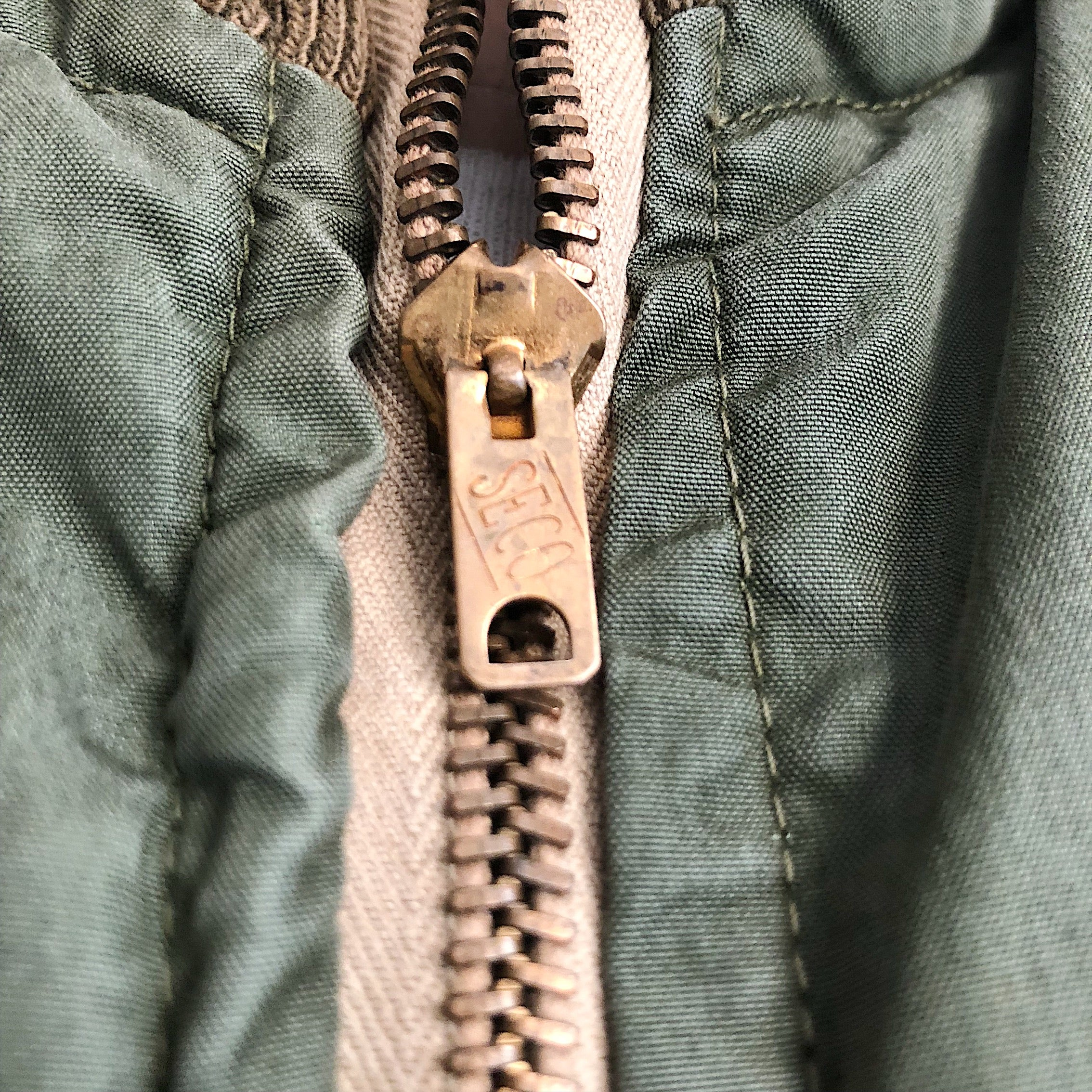Rare Vintage SECO Zipper on Authentic WW2 Tanker Jacket