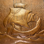 Arts and Crafts Metal Relief of Ship  Industrial Decor 1920s Artwork Chic