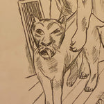 Lioness in Max Beckmann Signed Lithograph - Lowenpaar - Lion Couple - 1921 - Rare Pencil Signed Limited Edition - Degenerate Art - German Expressionism