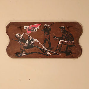 Vintage Red Wing Shoes Store Display Sign - 1960s - Print on Wood Peg Hanger - Workwear - Fishing Hunting Working - Rare Advertising
