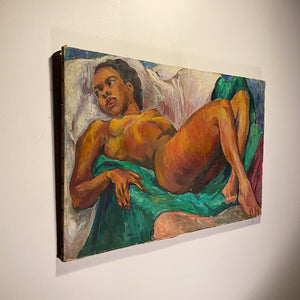 Chicago Artist WPA Era Painting of African American Nude Woman by Lillian Jean Nosko - 1940s Chicago Institute of Art - Midcentury Artwork - Listed Artist