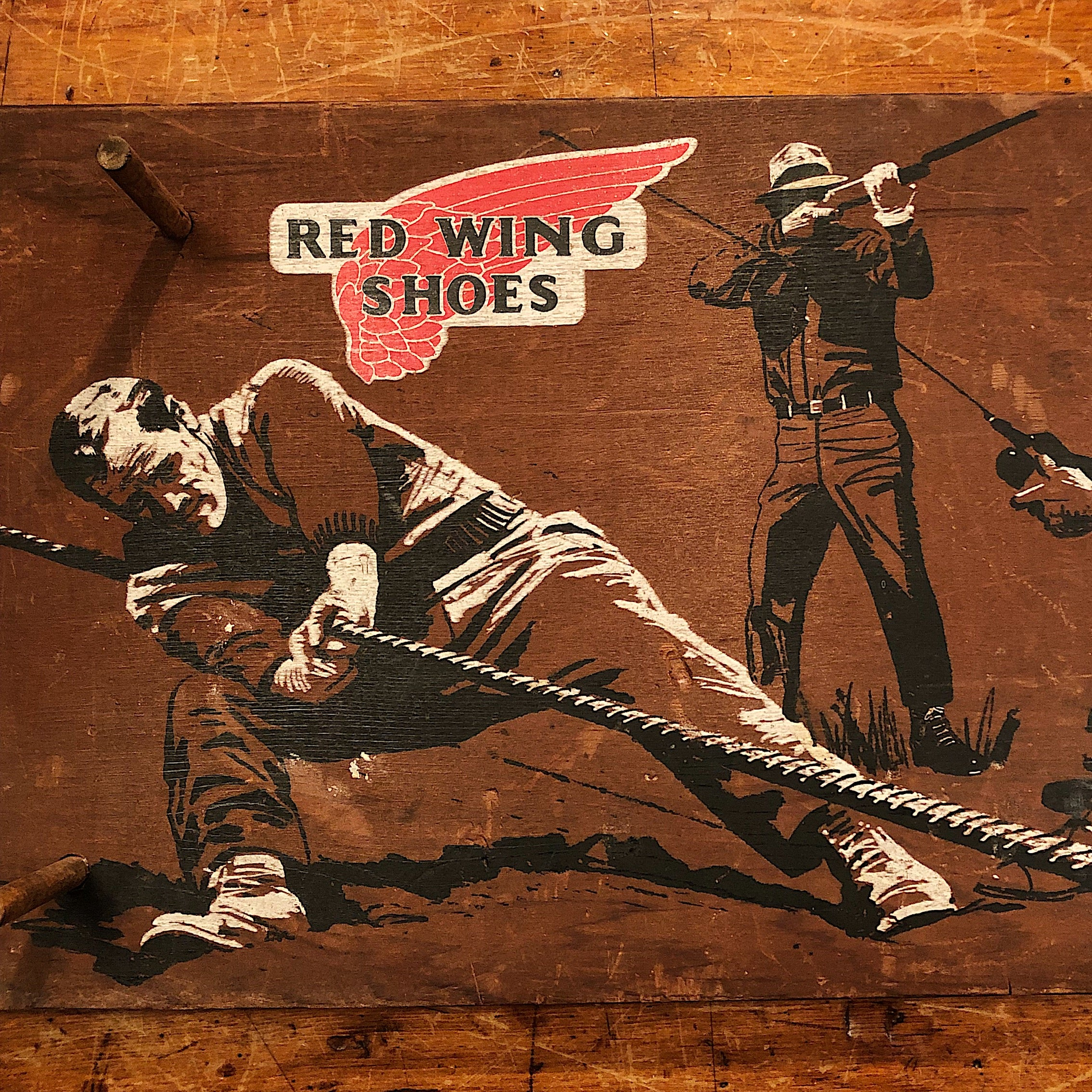 Vintage Red Wing Shoes Store Display Sign - 1960s - Print on Wood Peg Hanger - Workwear - Fishing Hunting Working - Rare Advertising Piece