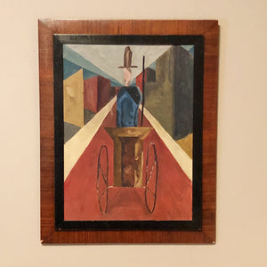 Antique Cubist Painting from 1930s - Marshall Field's Picture Gallery Art - Oil on Masonite - Rare Unusual Artwork - Depression Era Art