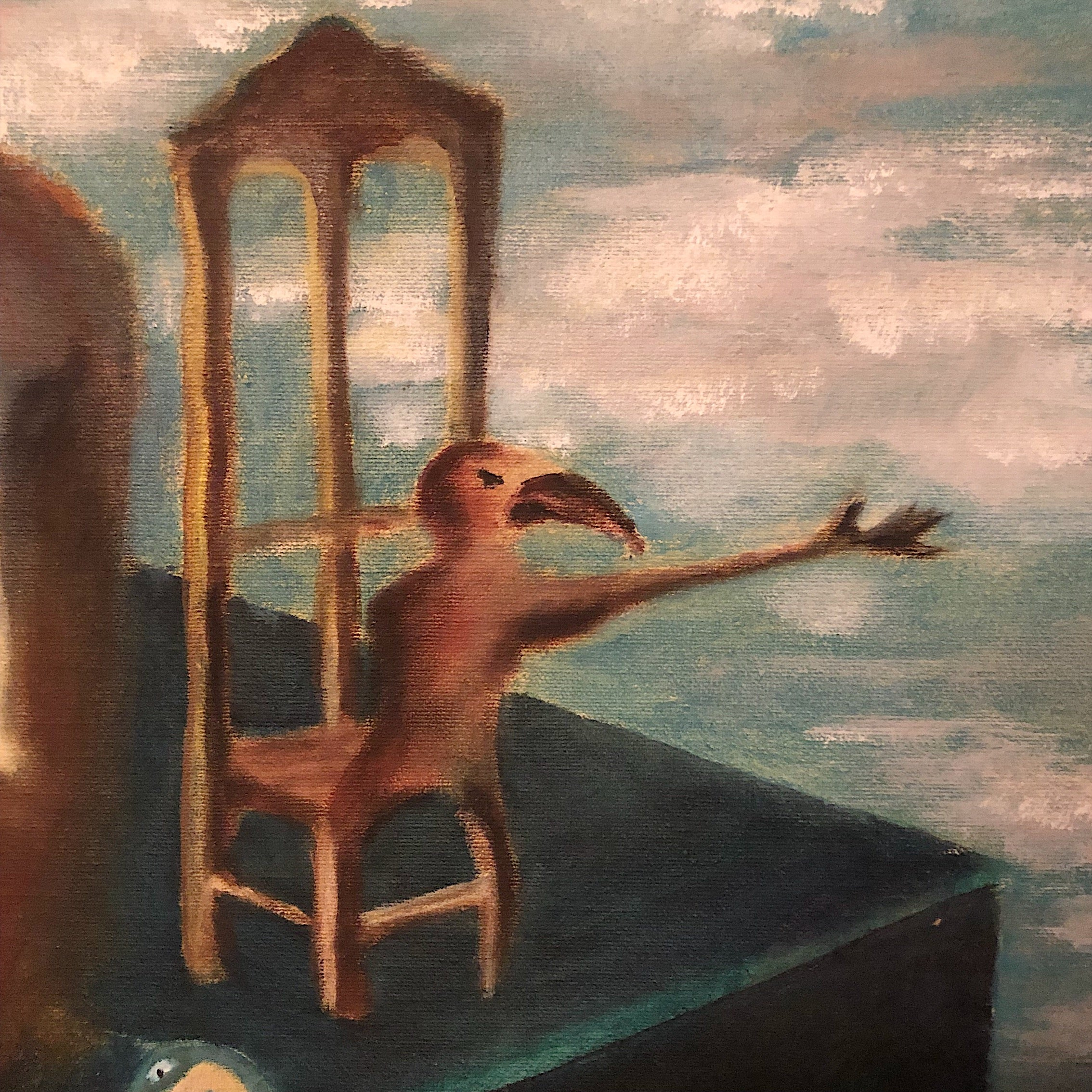 Vintage Surreal Painting from 1960s - Christopher Charles - Surrealist Artwork - Salvador Dali - Outsider Art - Unusual