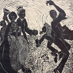 Zondi Chipa Linocut Print - Oh Happy Day - Early 1980s - Signed South African Artwork - Limited Edition 9 of 10 - Rare Woodcut Prints - Amos