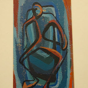 1950s Mod Painting of Abstract Figure - Surreal Artwork - Rare Modernist Paintings on Paper - Mystery Artist - Bamboo Frame