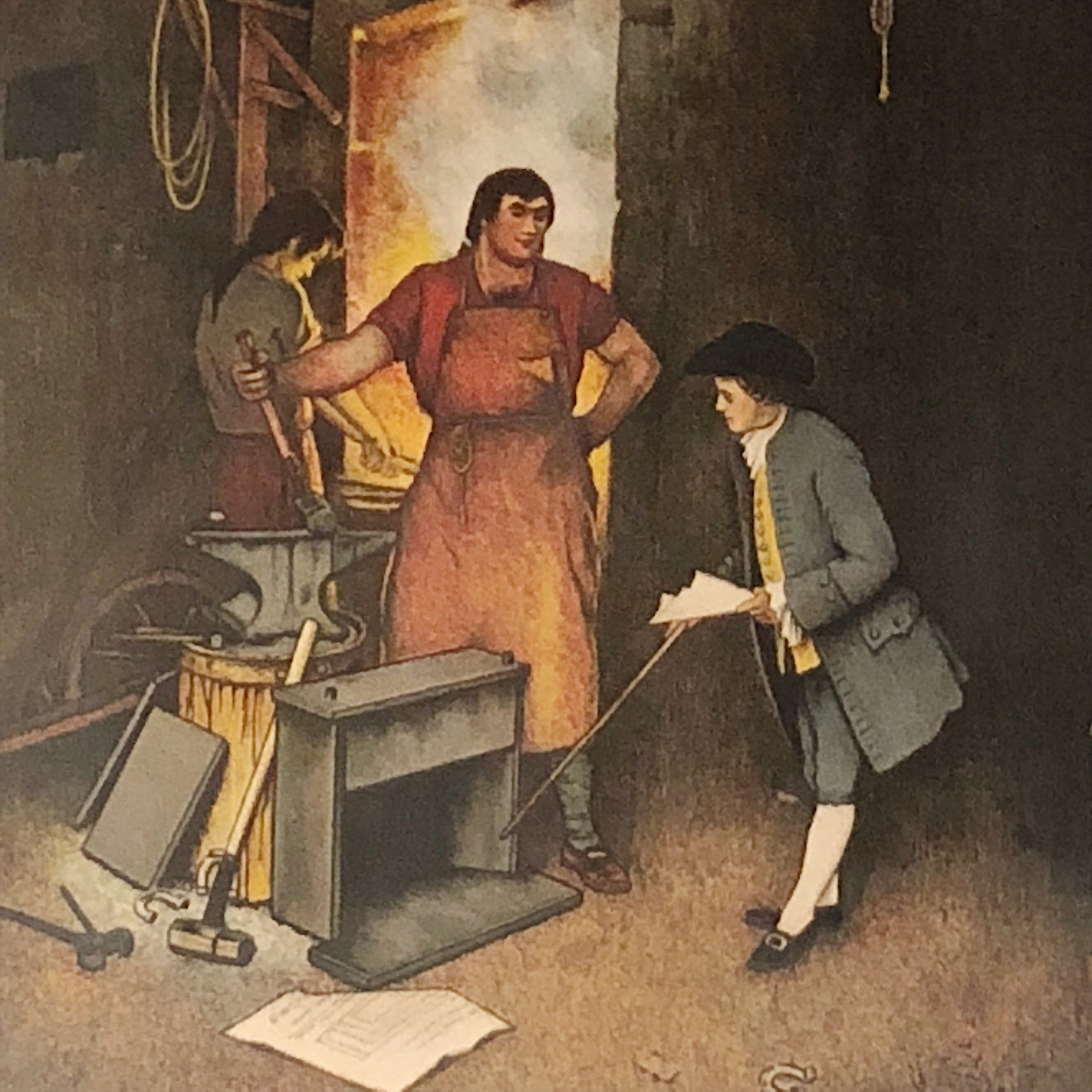 Norman Rockwell Lithograph of Blacksmith Shop from 1973