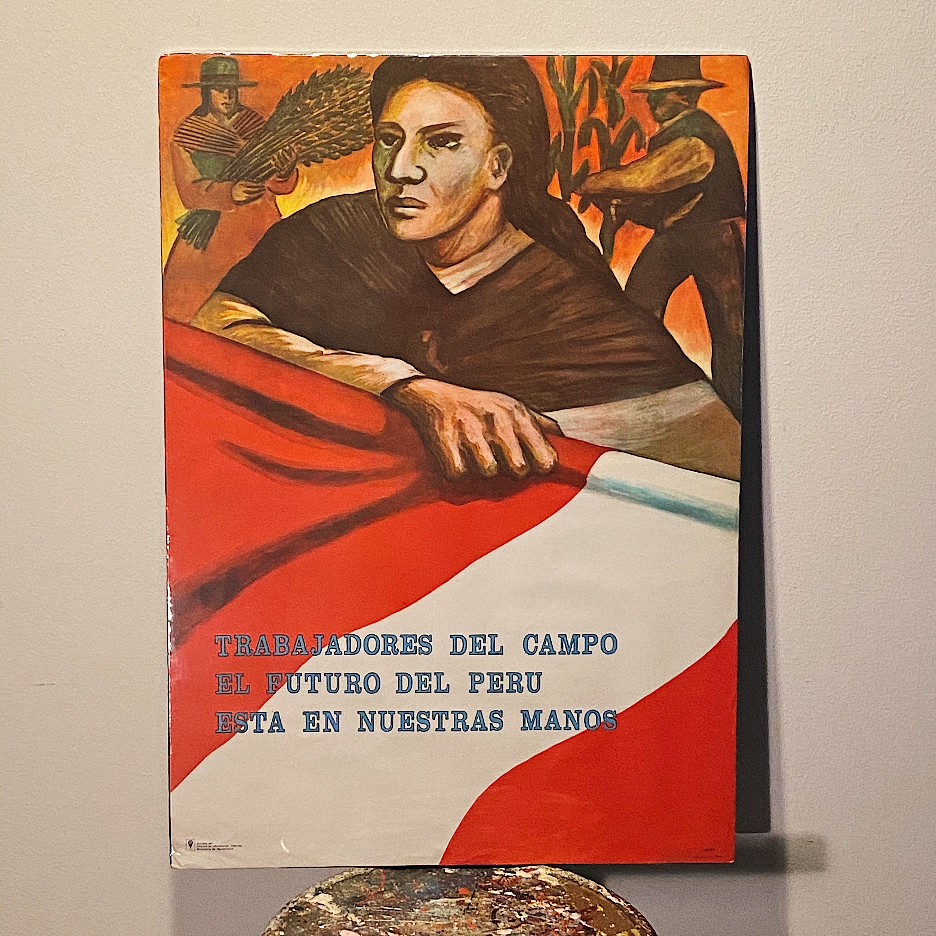 Rare Protest Poster from Peru 1960s? - WPA Style - Revolution Art - Agrarian Land Reform - Trabajadores - Oficino de Infomacion Técnico Full size