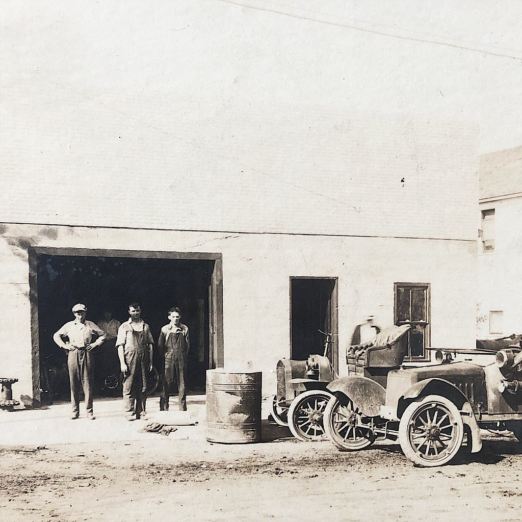 Antique Photograph of Mechanic Shop from 1917 - Early 1900s Auto Photography - Greaser Culture - Denim Workwear - Ford Cars