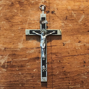 Antique Nickel Crucifix with Skull and Crossbones - Vintage Inlay Cross - Priest Nun - Inri Religious Decor