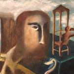 Close up of Vintage Surreal Painting from 1960s - Christopher Charles - Surrealist Artwork - Salvador Dali Influence - Outsider Art - Unusual