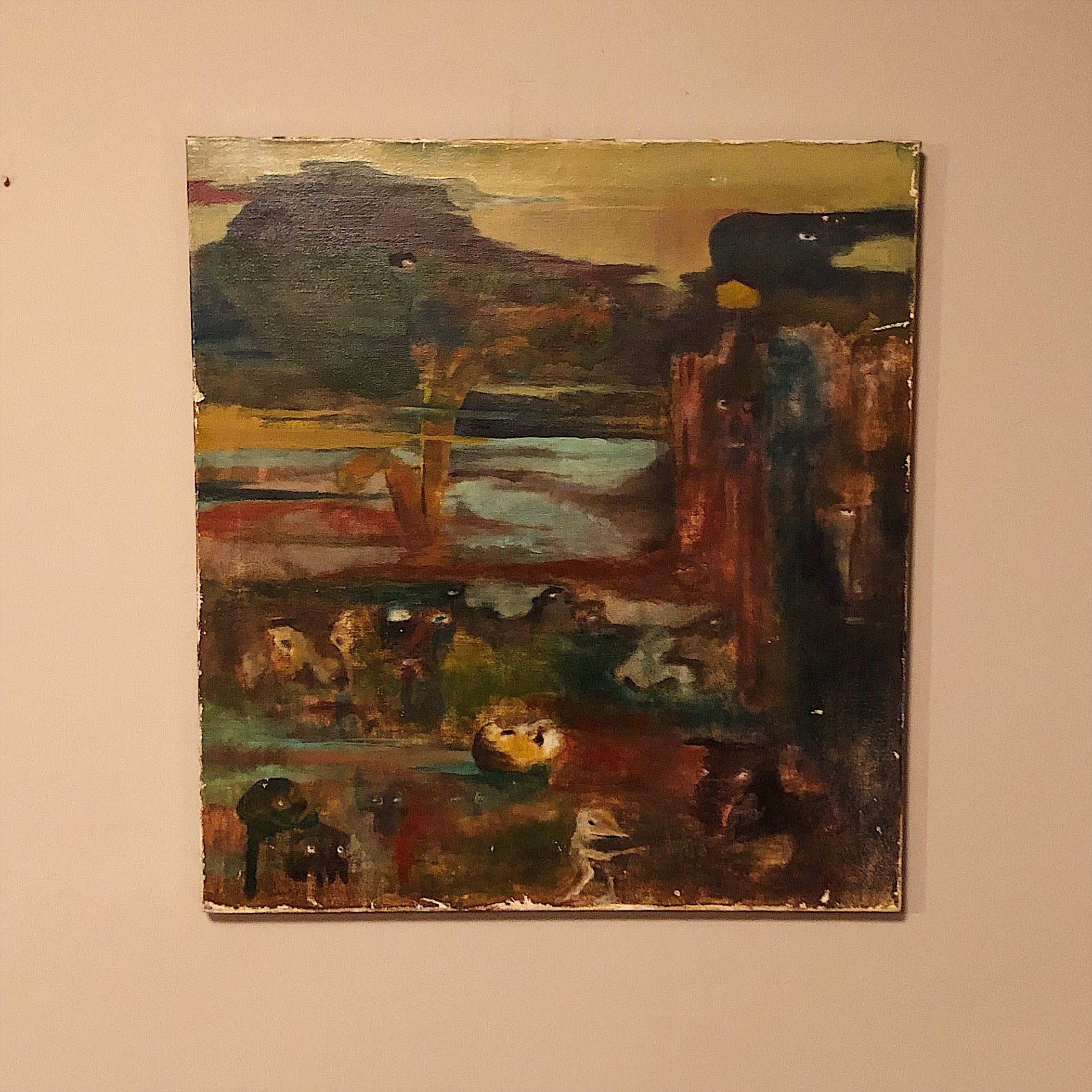 Vintage Surreal Painting from 1960s - Outsider Art - Christopher Charles - Surrealist Landscape Scene - Rare Unusual Artwork