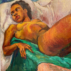 WPA Era Painting of African American Nude Woman by Lillian Jean Nosko - 1940s Chicago Institute of Art - Midcentury Artwork - Listed Artist