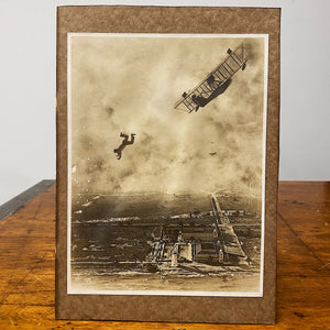 Rare Antique Photograph of Man Falling from Plane - 1918 - Silver Gelatin Print - Miami Florida - Rare Daredevil Photography