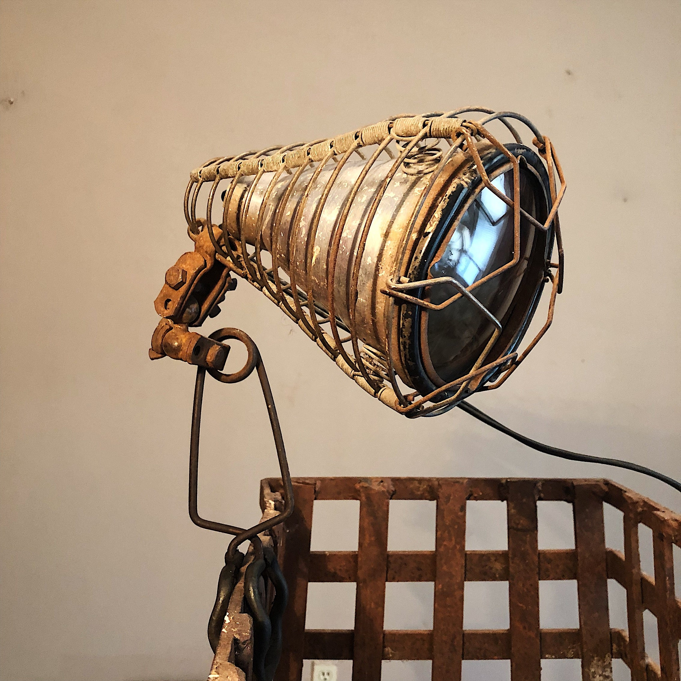 Vintage Shop Clamp Light from Old Phillips 66 Station | 1940s