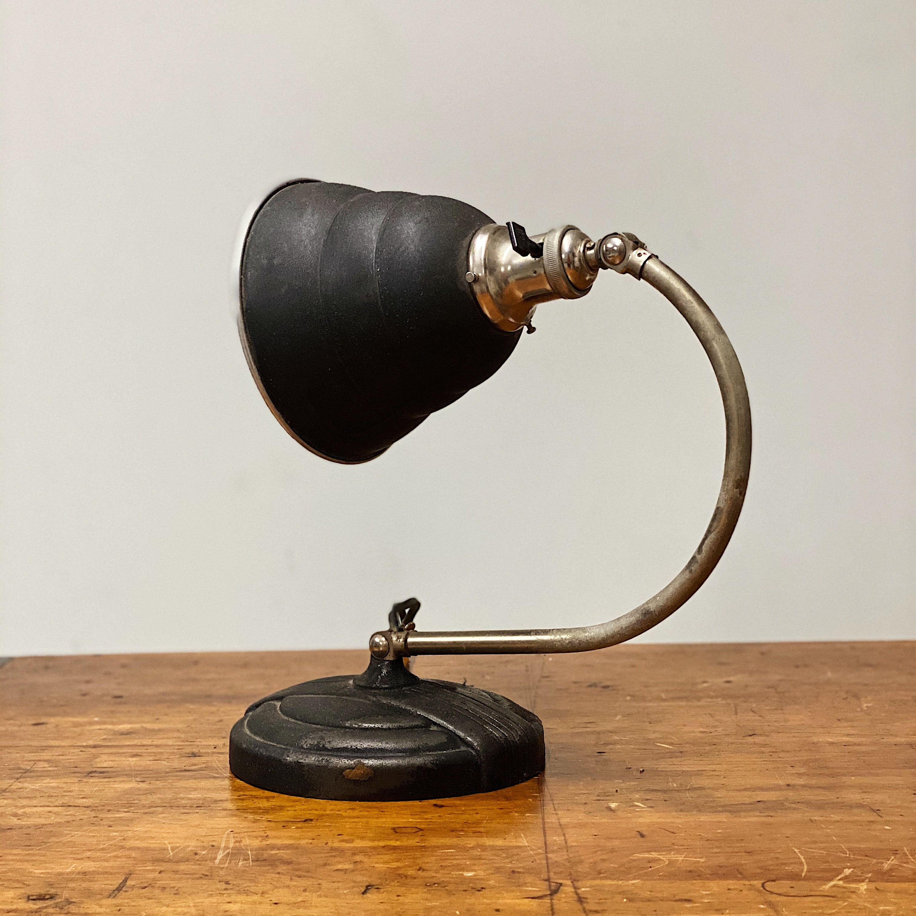 Funky Vintage Articulating Desk Lamp with Unusual Shade - General Electric - Rare Art Deco Light - Decor - Black and Tan - Antique Lighting