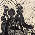 Zondi Chipa Linocut Print - Oh Happy Day - Early 1980s - Signed South African Artwork - Limited Edition 9 of 10 - Rare Woodcut - Amos