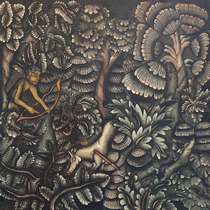1930s Batuan Painting of Hunter in Forest - Ida Bagus Rai? - Vintage Balinese Art - Sanur Painters - Hunting - Ink on Watercolor - Rare