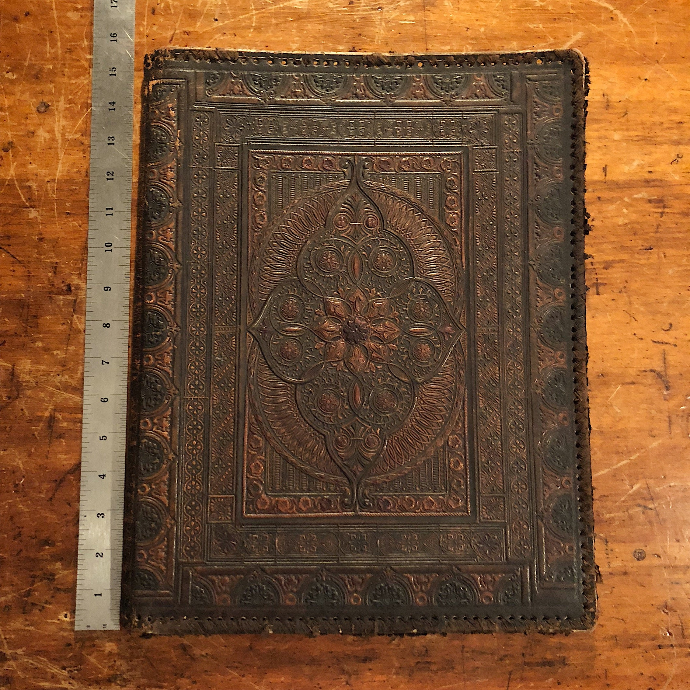Antique Leather Portfolio Cover with Tooled Ornate Design -Manuscript Cover - 1800s - Arts and Crafts - 19th Century