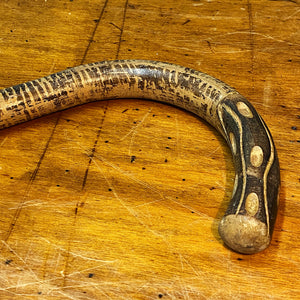 "Antique Folk Art Walking Cane - Early 1900s - 36"" - Wood Carved Handle - Painted Stripes - Rare Unusual Design - Outsider Art  - Tiger Snake"