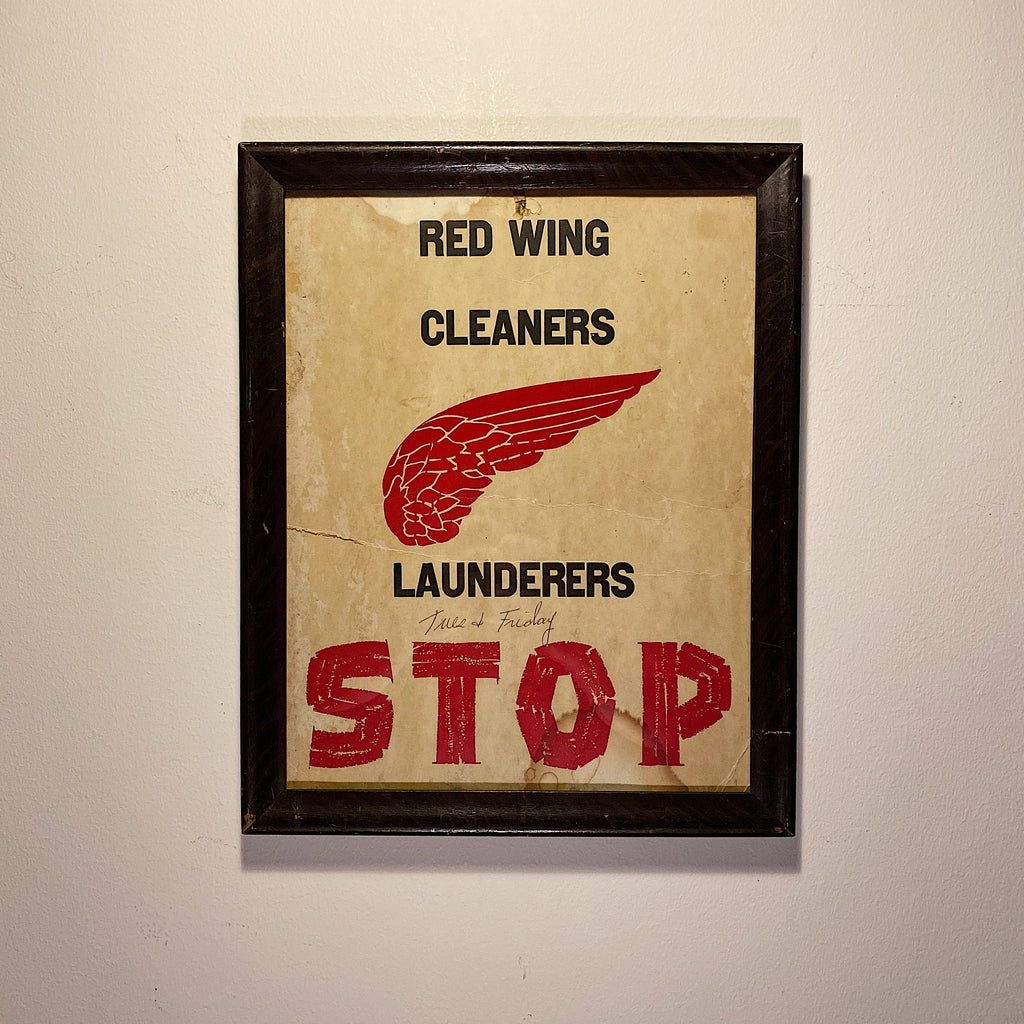 Vintage Red Wing Store Sign - 1950s Cleaning Launder - Leather Work Boots -  Red Broadside Block Print - Rare Minnesota History - Cool Decor