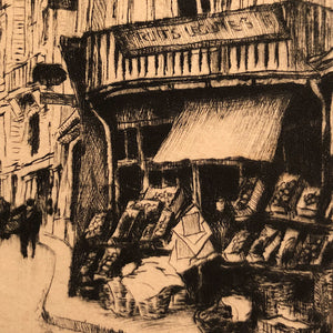 European Etching of Street Scene - Pencil Signed - Mystery Artist - Limited Run - Lana Watermark