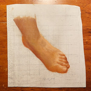 Unusual Vintage Painting of Bare Foot | 1970s Weird Art