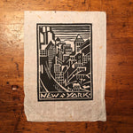Art Deco Woodcut Print of New York City Skyline
