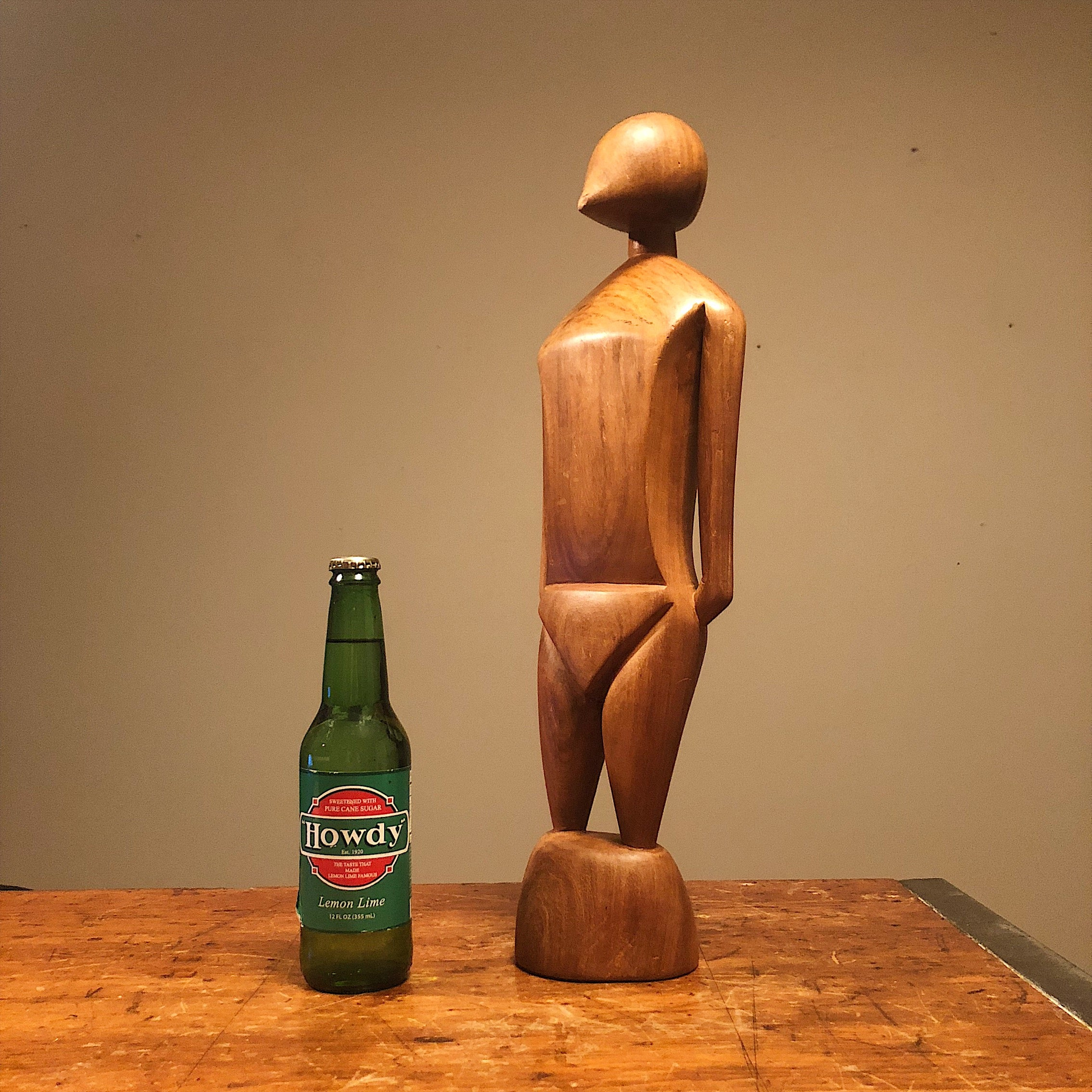 Proportions Unusual Mod Wood Sculpture of Human Form from 1950s