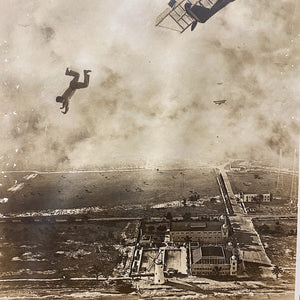Unusual Antique Photograph of Man Falling from Plane - 1918 - Silver Gelatin Print - Miami Florida - Rare Daredevil Photography