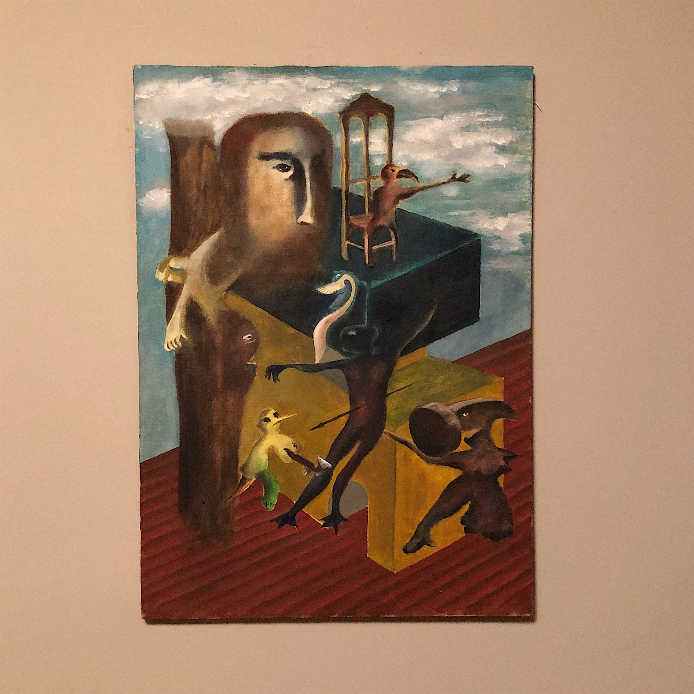Vintage Surreal Painting from 1960s - Christopher Charles - Surrealist Artwork - Salvador Dali Influence - Outsider Art