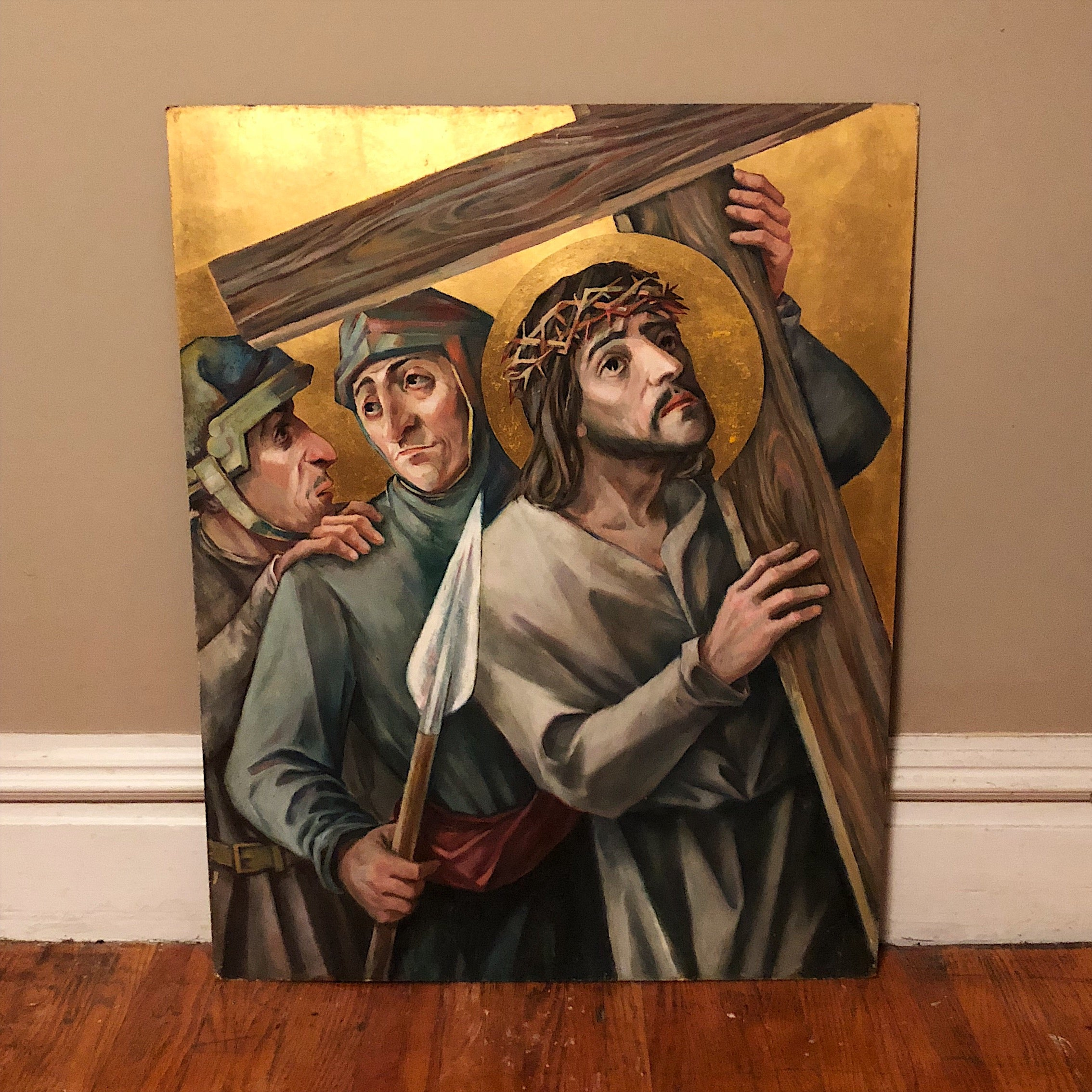 Large Painted Panels of Stations of the Cross - Set of 7